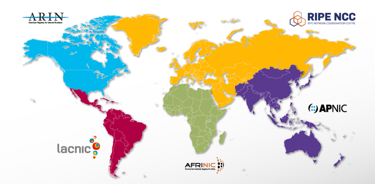 RIR regije mapa